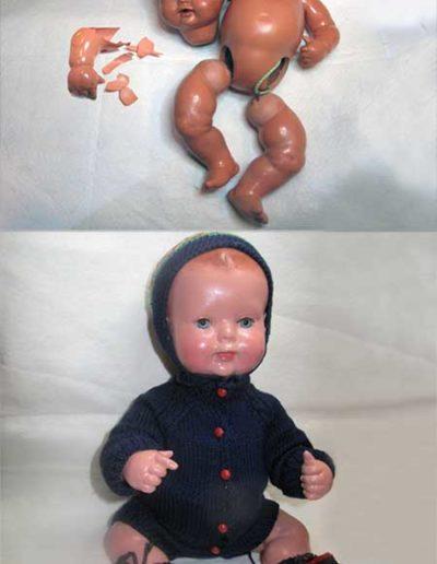Prima e dopo della riparazione del braccio distrutto di una bambola
