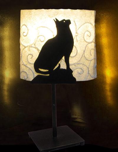 Lampade in ferro battuto e carta di gelso di gatto, handmade