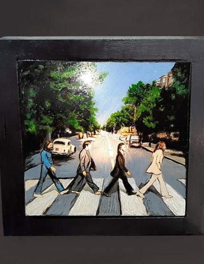 Lampada in legno dipinta a mano dei Beatles in Abbey Road