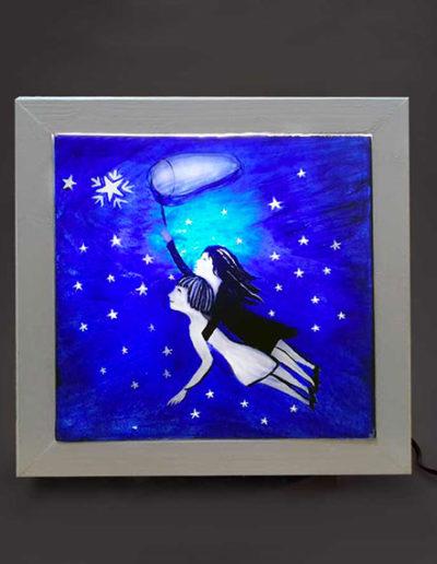 Lampade in legno con due amanti che prendono le stelle, handmade