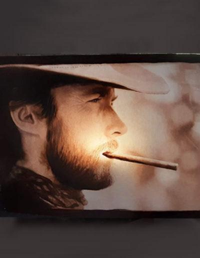 Lampade in legno rettangolare di Clint Eastwood, handmade