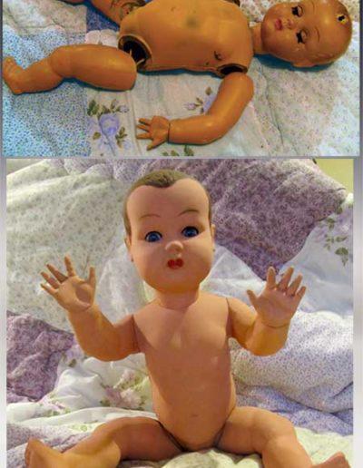 Prima e dopo della riparazione testa e elastici di un bambolotto di bachelite