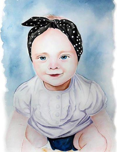 Ritratto a acquerello dimensioni 35x50 cm. di bambina con fazzoletto in testa