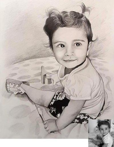 Ritratto a matita dimensioni 30x40 cm. di bambina sul letto