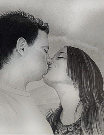 Ritratto a matita dimensioni 50x35 cm. di coppia di fidanzati