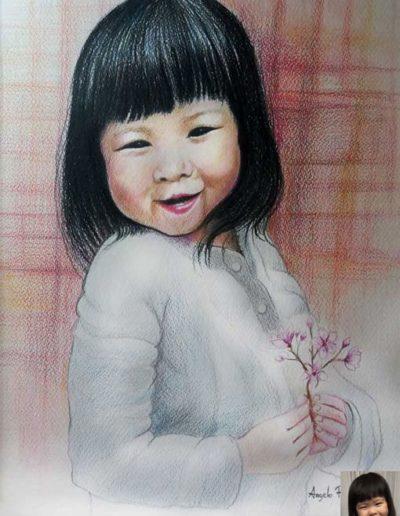 Ritratto a matite colorate dimensioni 32x50 cm. di bambina cinese