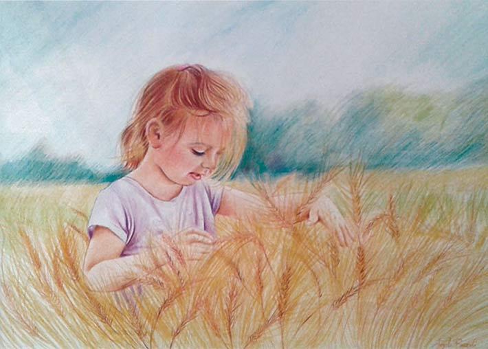 Ritratto a matite colorate dimensioni 50x34 cm. di bambina in un campo di grano
