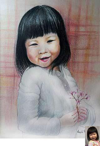 Ritratto a matite colorate di bambina cinese con in mano dei fiori