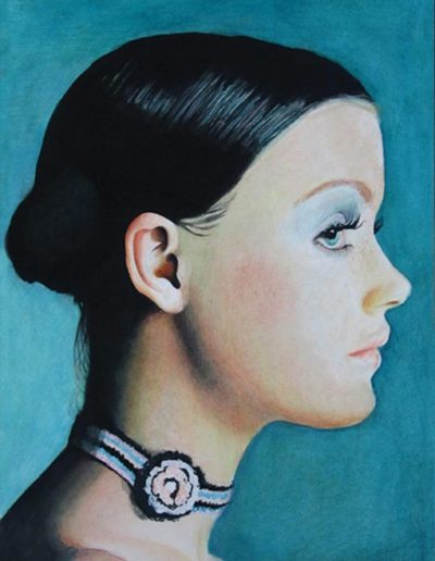 Ritratto ad acquerello e pastelli dimensioni 35x50 cm. di donna