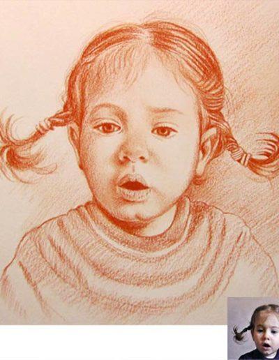 Ritratto a sanguigna dimensione 40x45 cm. di bambina con treccine