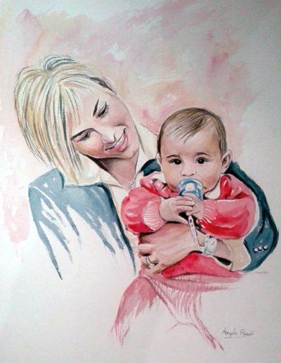 Ritratto ad acquerello dimensioni 35x50 cm. di madre con in braccio neonato