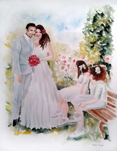 Ritratto ad acquerello dimensioni 35x50 cm. di coppia di sposi con due bambine sedute su panchina