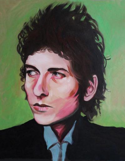 Ritratto a olio di Bob Dylan da giovane