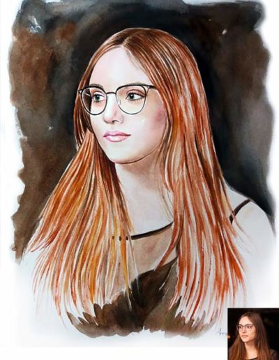 Ritratto ad acquerello dimensioni 40x60 cm. di una ragazza con occhiali