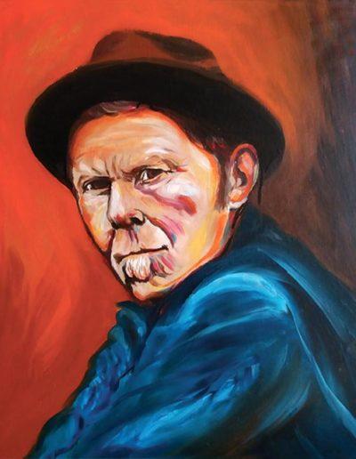 Ritratto a olio dimensioni 40x50 cm. di Tom Waits con cappello