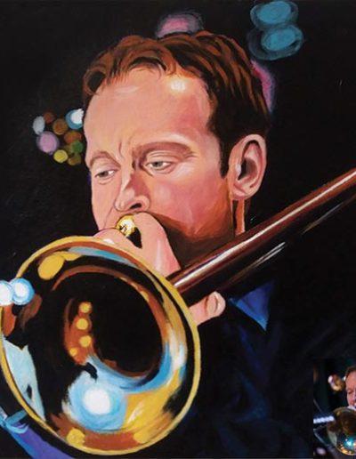 Ritratto a olio dimensioni 40x50 cm. di un trombettista