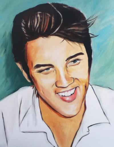 Ritratto a olio dimensioni 40x50 cm. di Elvis Presley da giovane