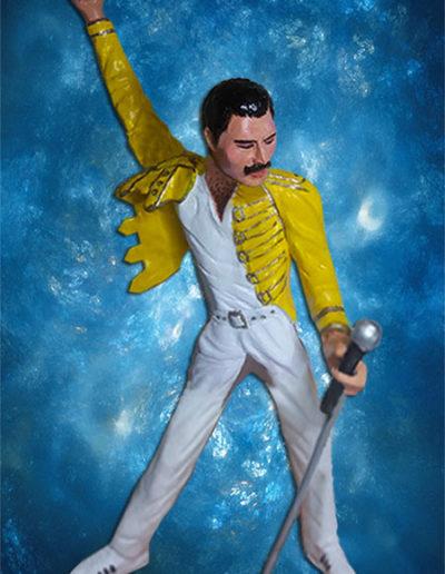 Statuina di terracotta del cantante Freddie Mercury. Fatto a mano in stile statuine di Napoli