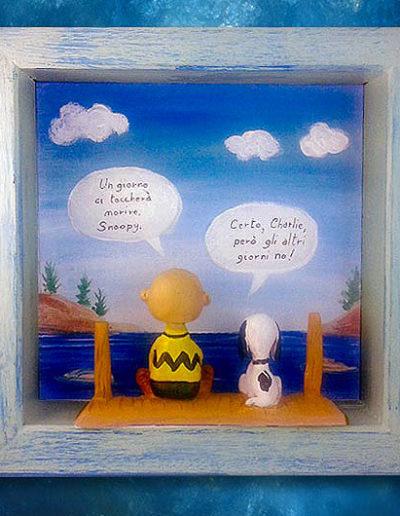 Quadretto del fumetto Snoopy e Charlie Brown in cornice che si parlano, handmade