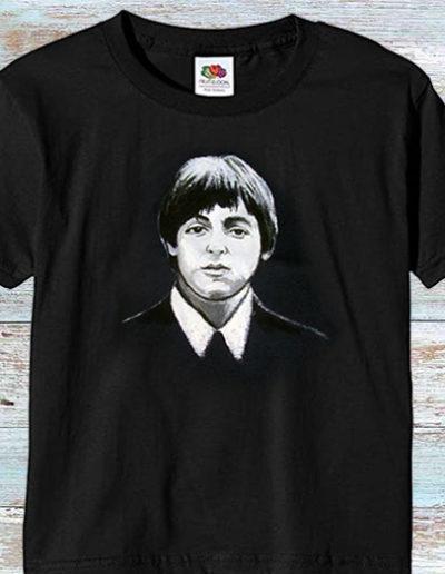 T-shirt nera fatta a mano con Paul McCartney