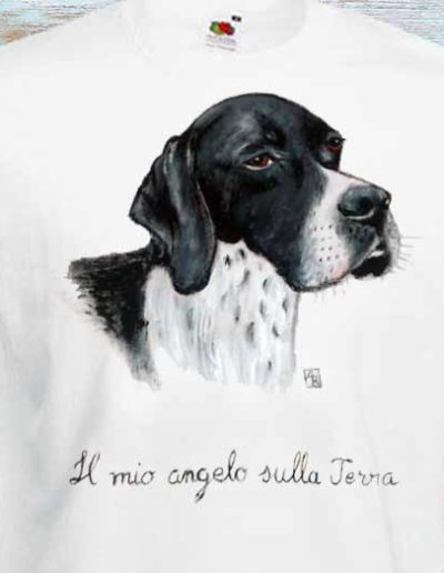 T-shirt fatta a mano con cane con scritto il mio angelo sulla terra