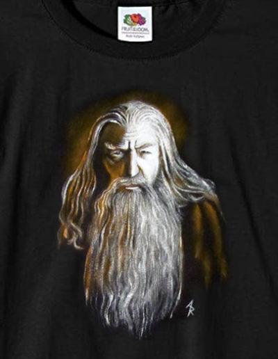 T-shirt fatte a mano con Gandalf del Signore degli Anelli