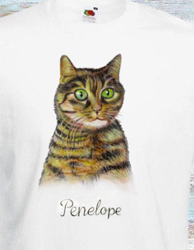 T-shirt bianca dipinta mano don gatto di nome Penelope