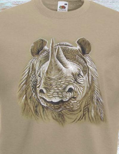 T-shirt beige dipinta a mano con rinoceronte
