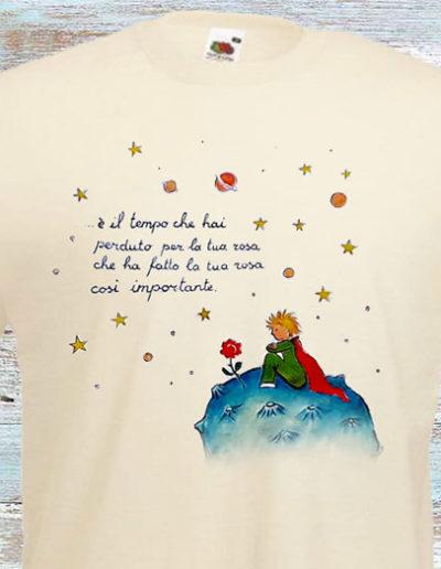 T-shirt bianca dipinta a mano del Piccolo Principe