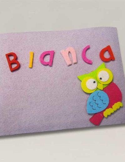 Album color lilla fotografico fatto a mano, rivestito in feltro lilla e nome Bianca