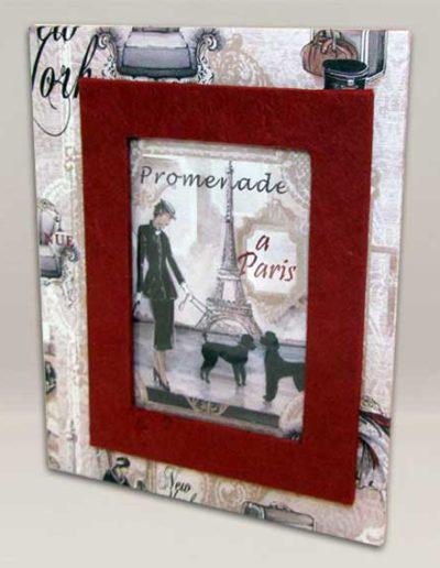 Portafoto artigianale con carta stampata in stile vintage