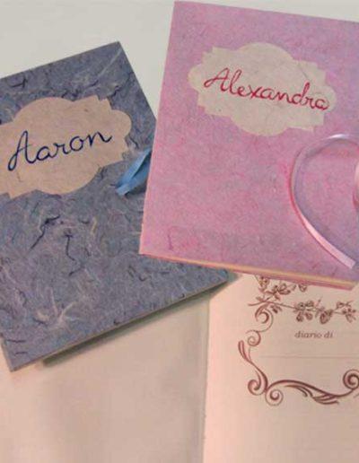 Diario nascita rivestito con carta seta e nome. Handmade