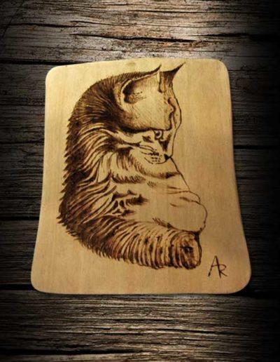 Incisione a pirografo su legno di poppo di un gatto