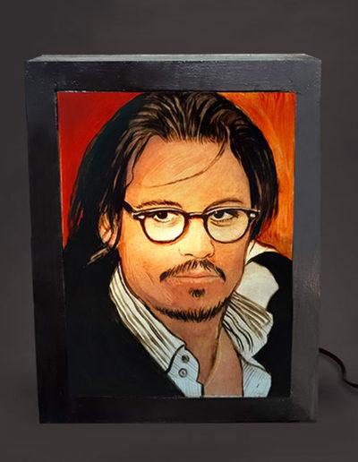 Lampada in legno e pexiglass dipinta a mano di Johnny Depp