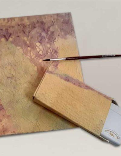 Quaderno per acquarello fatto a mano , con scatolina portacolori e pennello. Handmade