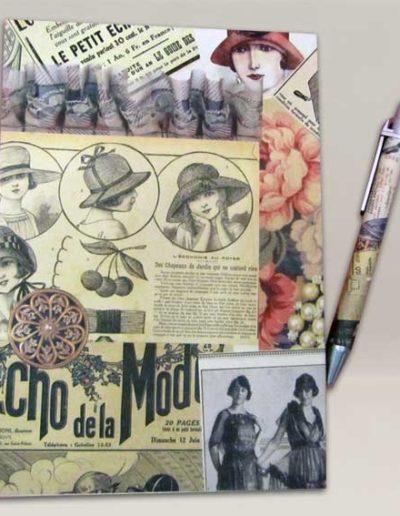 Quaderno rivestito con carta Renkalik in stile vintage, con penna abbinata. Handmade