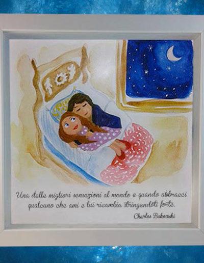 Cornice quadrata con bassorilievo a colori di due ragazzini che dormono vicini con frase di C.Bukowski sul fondo, dipinto a mano con acquerello. Fatto a mano