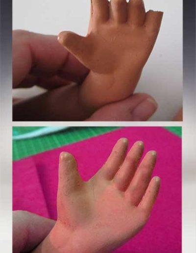 Prima e dopo della ricostruzione delle dita mancanti di una bambola