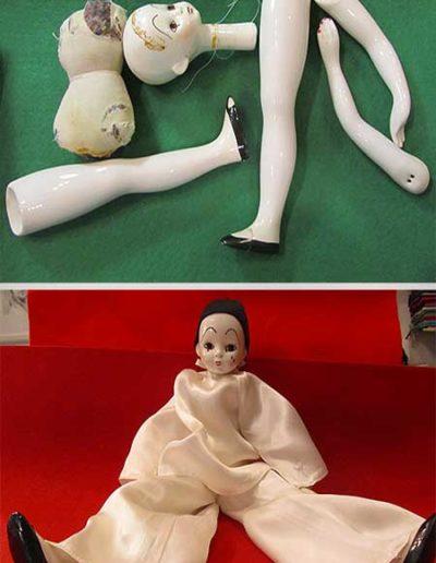 Prima e dopo della riparazione di un Pierrot di porcellana