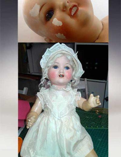 In questa foto c'è la descrizione del prima e dopo della riparazione di una bambola senza capelli con varie crepature sul viso
