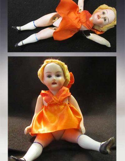 Prima e dopo della riparazione di una bambolina di porcellana anni '20