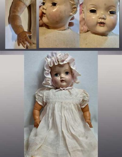 Prima e dopo della riparazione del viso e corpo di una bambolina di bachelite
