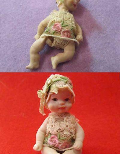 Prima e dopo della riparazione di una bambolina di porcellana mignon