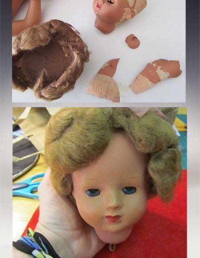 Prima e dopo della ricostruzione della testa di una bambola Furgas anni 50