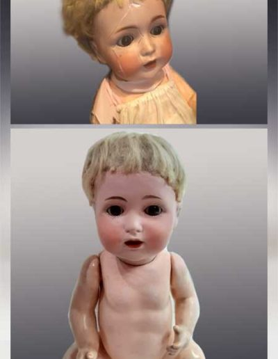 Prima e dopo della riparazione del viso di una bambolina di porcellana