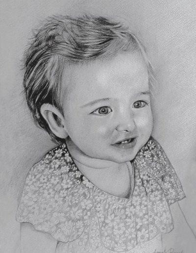 Ritratto a matita dimensioni 30x40 cm. di bambina