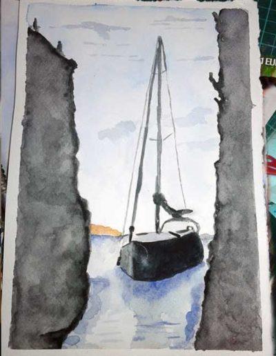 Dipinto ad acquerello dipinto da allievi raffigurante una barca fra gli scogli