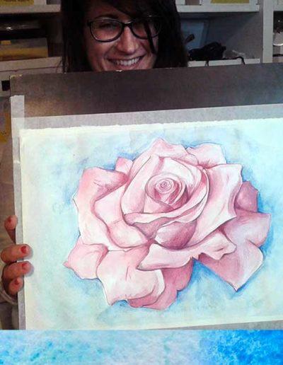Dipinto ad acquerello dipinto da allievi raffigurante una grande rosa