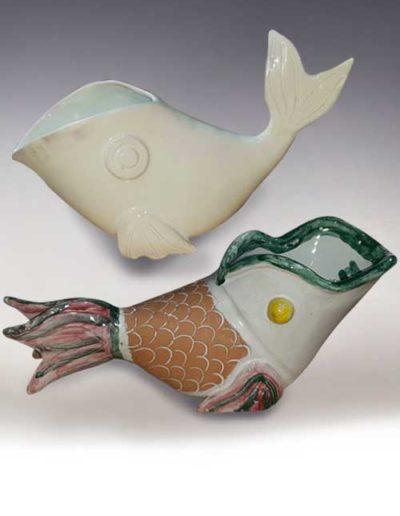 Manufatto realizzato da allievo di corso ceramica, trattasi di pesci di ceramica