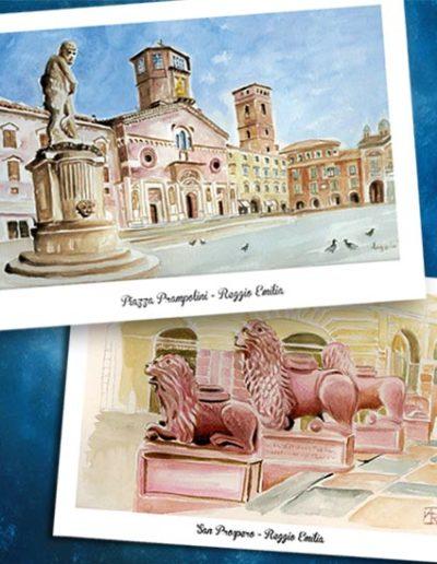 40 diverse cartoline di Reggio Emilia, riproduzioni di acquarelli fatti a mano
